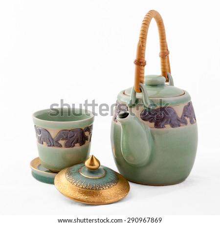 tea set (Celadon green ceramic) on a white background with - stock photo
