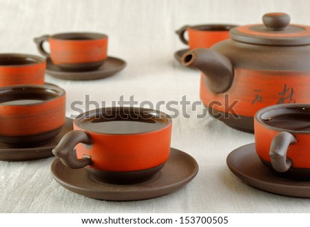 tea set made from clay - stock photo