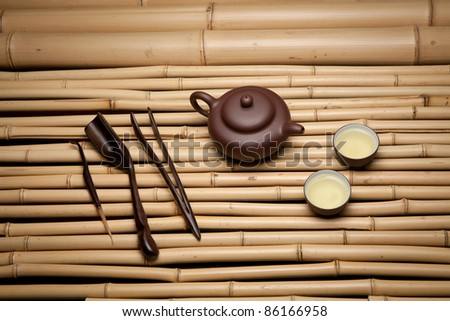 Tea set  on bamboo mat