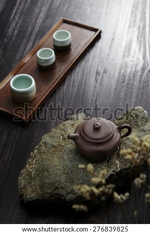 Tea set on table, Chinese tea culture background - stock photo