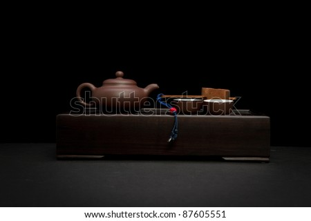 Tea set on wooden table