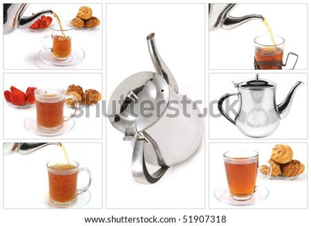 tea start flow to crystal transparent cup - stock photo