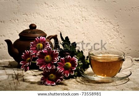 Tea still life on the desk - stock photo