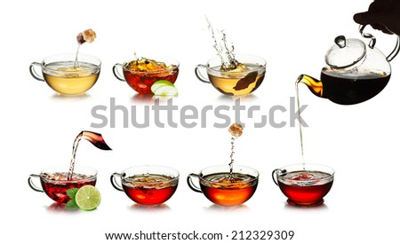 Tea. Tea time concept. Different kinds of black, green, herbal and oolong tea in transparent cups. Tea with fresh, clean look. Tea splashes. Tea pouring. - stock photo