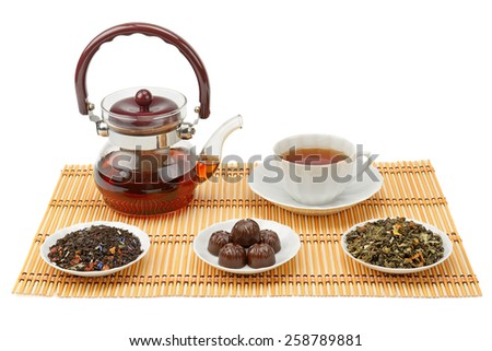 tea, teapot and cup isolated on white background - stock photo