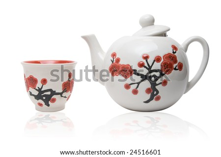 Tea-things in asian style with flowers. Isolated on white. - stock photo