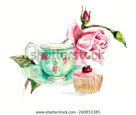Tea Time. A cup of tea and cake. Invitation to tea drinking. Watercolor hand drawn illustration. Green cup with pink flowers. Roses brunch. - stock photo