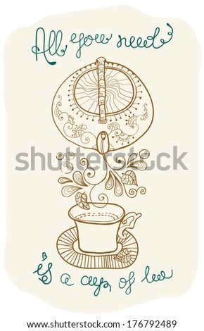tea time background with text, teapot and cup - stock photo