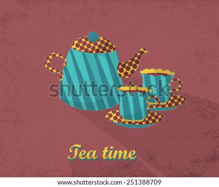 Tea time card. Template for design textile, greeting cards, wrapping paper, packages, backgrounds. Vintage - stock photo