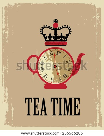 tea time in London poster - stock photo