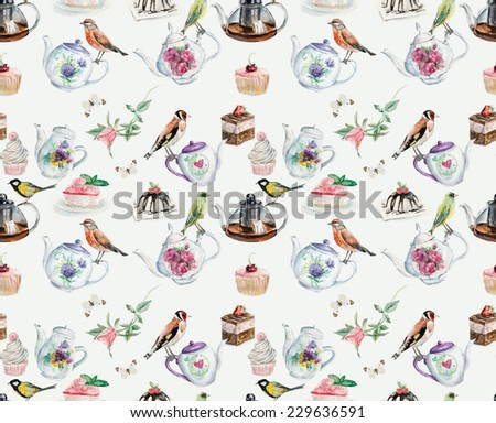 Tea Time seamless. Birds, cake, roses, butterflies. Background. Watercolor hand drawn illustration. - stock photo