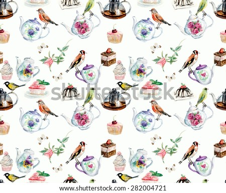 Tea Time seamless. Birds, cakes,  roses, teapots. Background. Watercolor hand drawn illustration. - stock photo