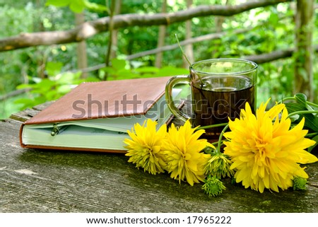 tea time with notebook and flowers on garden table in backyard