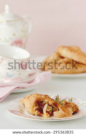 tea time with pastry in retro style