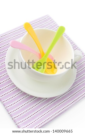 Tea White Cup with Colored Spoons