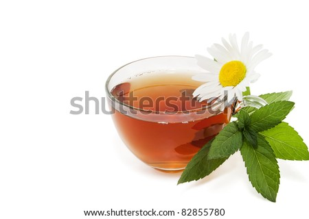 tea with a branch of mint and a camomile flower on a white background