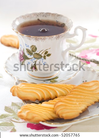 Tea with cookies for tea drinking - stock photo