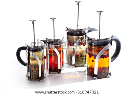 Tea with Fresh Berries and Herbs - stock photo