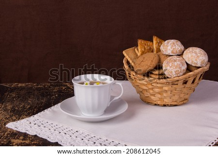 tea with homemade cookies and cakes, retro - stock photo
