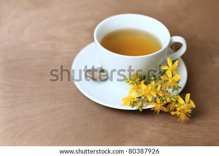 tea with hypericum - stock photo