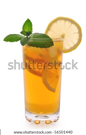 Tea with ice lemon and mint