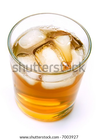 Tea with ice over white background - stock photo