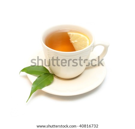Tea with lemon isolated on white