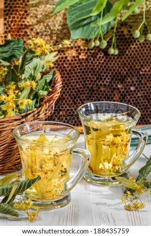 Tea with lime and honey - stock photo
