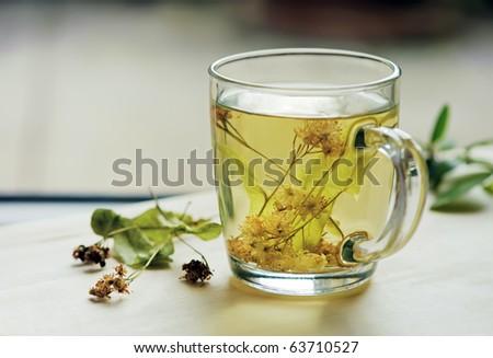 Tea with lime. Shallow deep - stock photo