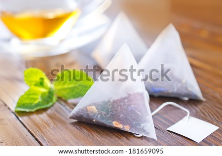 tea with mint - stock photo
