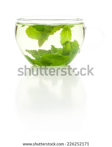 Tea with mint leaves isolated on white background - stock photo