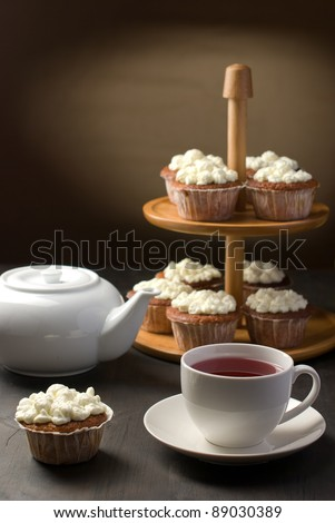 Tea with muffins arrangement - stock photo