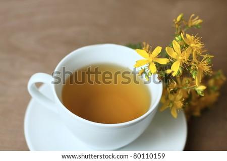 tea with St. John's wort - stock photo
