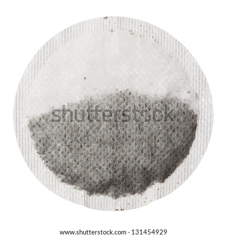 Teabag isolated on white background, close up - stock photo
