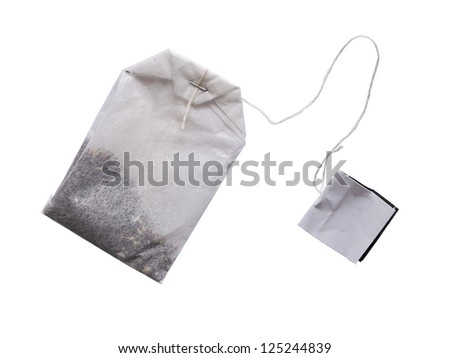 teabag with a label on the white background