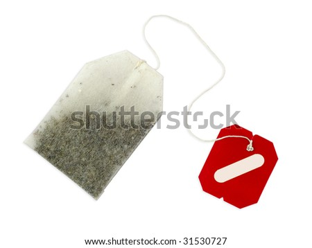 Teabag with blank, red label