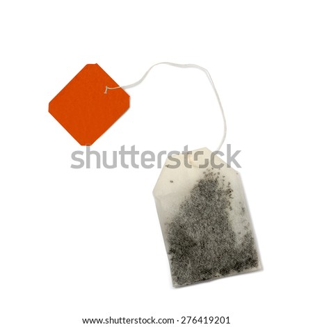 Teabag with red label. Top view. Isolated on a white background.