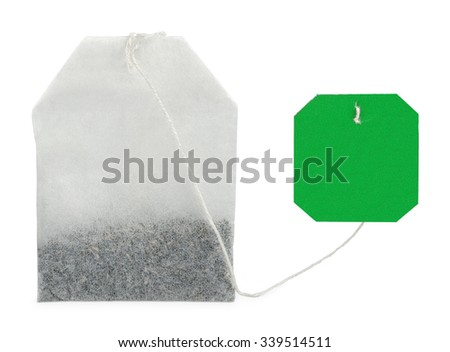 Teabag with tag - stock photo