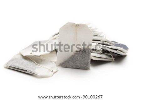 Teabags on a white background
