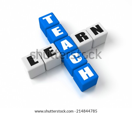 Teach Learn crosswords. Part of a business concepts series. - stock photo