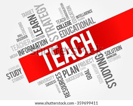 TEACH word cloud, education concept - stock photo