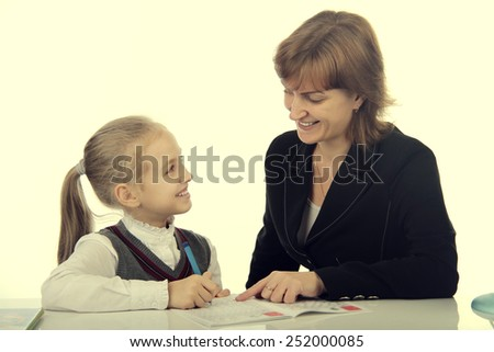 teacher and pupil - stock photo