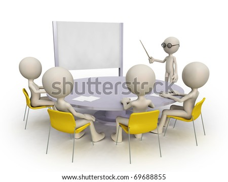 teacher and student group - stock photo