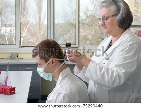 teacher and student in the laboratory - stock photo