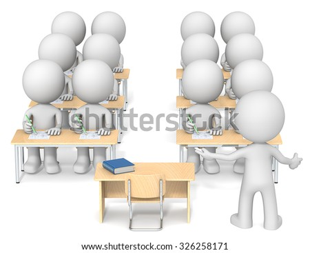 Teacher and Students. Dude X12 the students and Teacher in classroom. Back view. - stock photo