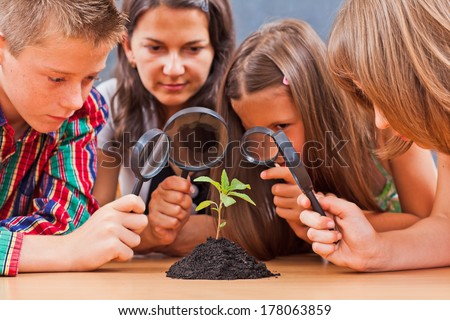 Teacher and students looking at a plant through magnifier - stock photo