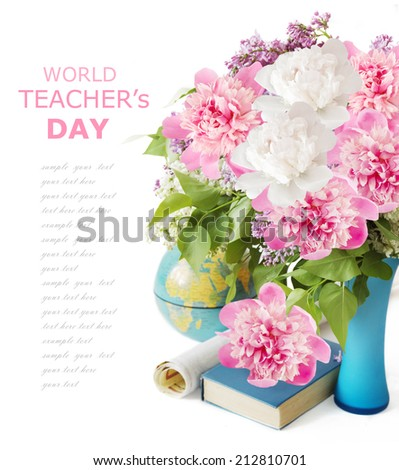 Teacher day (flowers bunch with peony and lilac, map and books isolated on white) - stock photo