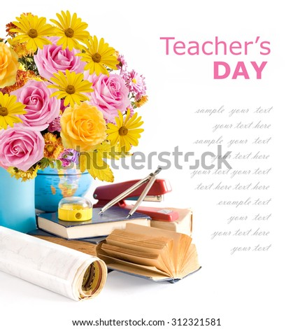 Teacher day (flowers bunch with roses and asters, map and books isolated on white) - stock photo