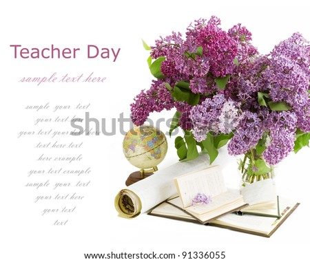 Teacher day (still life with bunch of lilac, books and globe isolated on white)