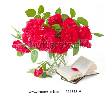 Teacher day (still life with bunch of roses and book isolated on white) - stock photo